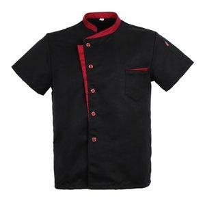 Unisexe Chef de manteau de veste à manches courtes T-shirt Hôtel Cuisine uniforme noir