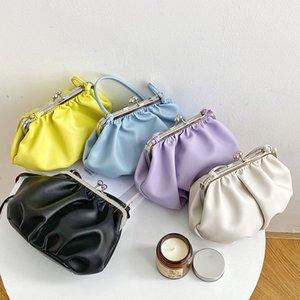2020 New Soft Leather Handbag Designer Pleated Cloud Shoulder Dumplings Bags Women Messenger Bag Brand Clip Clutch Bag Purses