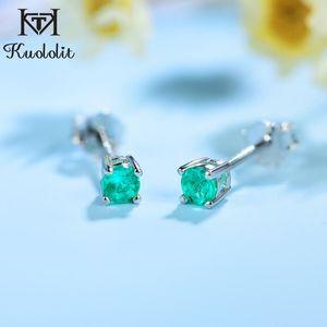 Kuololit laboratorio crecido esmeralda de piedras preciosas Pendientes de Mujeres sólido 925 Natural Creado verde esmeralda nueva llegada