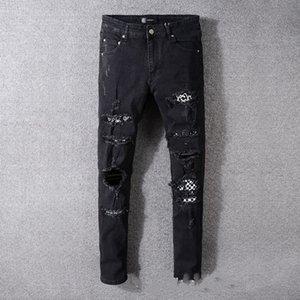 Luxury Fashion Mens designer Jeans Hip Hop Pants Hole Jeans Ripped Biker PANTS Slim Fit Washed d2 Motorcycle Jeans