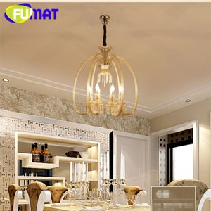 FUMAT Brief K9 Crystal Chandeliers Creative Art Amber Crystal Lights para sala de estar Hotel estilo europeo LED K9 Crystal Lights