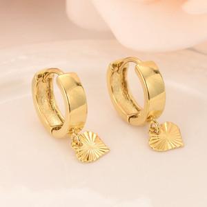 18 k Pendientes de gota de corazón de oro macizo GF para mujer / niña, aman la moda de joyería de moda para Europa oriental niños mejor regalo