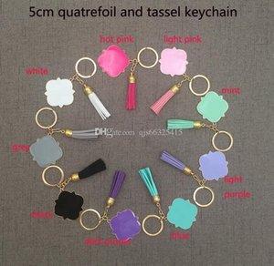 Chine Wholesale sur mesure personnalisée Monogrammed Blank Quatrefoil Tassel Keychain Quatrefoil Suede Monogrammed Tassel Keychain