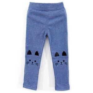 Baby Kids Cat Printed Ears Winter Leggings Solid Color Warm Skinny Pants Elastic D08C