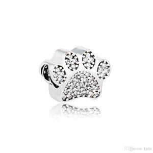 Authentic 925 Sterling Silver Bear Paw Sole Bead Charm With Clear CZ Fit Original Pandora Bracelet Diy Jewelry Making Wholesale