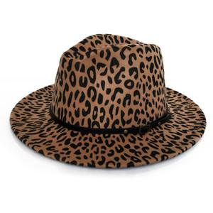 Frauen Art und Weise Leopard-Druck Wollfilz Fedora Jazz Hats Klassische Bowler Hat Ladies Trend Große Brimmed Panama Partei Trilby Cap