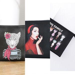 Creative cross print Pu printing women's hand makeup storage Storage Cosmetic cosmetic bag bag