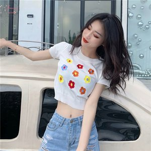 Short Sleeve Knit Embroideried Flower T Shirts Women Sweet Tshirt Girls O Neck Chic Crop Tops For Female Summer