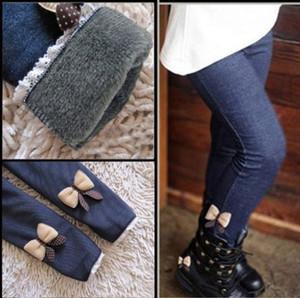 Meninas Jeans Bow Calças Crianças de algodão Calças Crianças elástico na cintura Legging quentes Calças Jeans crianças