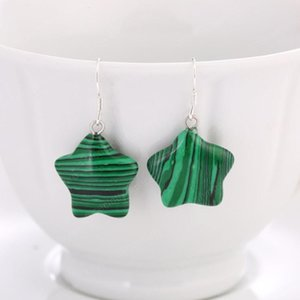 Wholesale Silver Plated Star Point Malachite Stone Dangle Earrings Transfer Lucky Gift Rose Quartz Jewelry