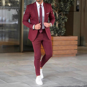 Повседневный Business Burgundy Мужские костюмы для свадьбы Мужские костюмы Blazer Groom Tuxedos Groomsmen Подходит 2piece Пальто Брюки Slim Fit Terno Мужчина для
