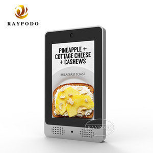 Raypodo 7 inch customized Android POE tablet with black and silver metal cover VESA wall mount