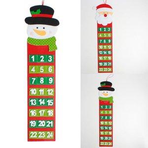 2019 Moda de Nova Non-Woven material da parede de Santa Snowman Calendário Decor Grande feltro do advento do Natal Calendário bolsos mais durável