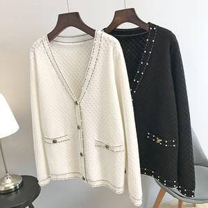 N14 2019 осень белый / черный Colorblock трикотажные карманы кнопки кардиганы свитер с длинным рукавом V шеи мода свитера OSSCAY254R