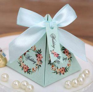 50 pcs Rosa/ Roxo / Azul Floral Pyramid Favor de Casamento Caixas De Doces Festa De Despedida De Noiva caixa de presentes