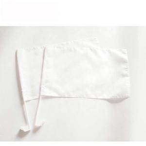 Kein Design Reines Weiß Blank Sublimation Autofahne 30x45cm Polyester-Drucken Auto-Fenster-Dekoration Flagge mit 43CM Plastikpfosten-freies Verschiffen