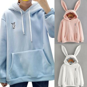 Frauen-nette 3D Rabbit Ears Hoodies Tops 3 Farben Langarm-Pullover Fest warmen Mantel