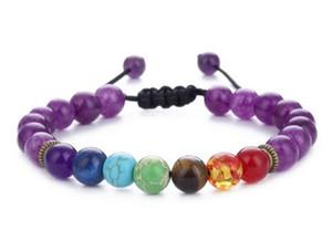 7 Chakra Lava Balance de guérison Perles Charme Bracelets Perles multicolores Pierres Stones Tissage Corde Bracelet Femmes Hommes Bracelets de Yoga 7 Couleurs