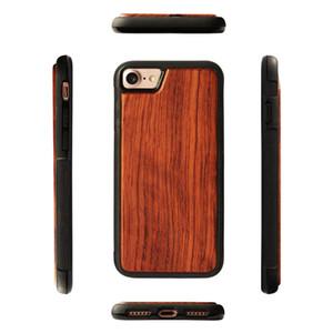 Luxo retro madeira + borracha macia phone case para iphone 7 8 6 s plus xs max xr anti-knock mobile cover real de madeira de bambu celular case