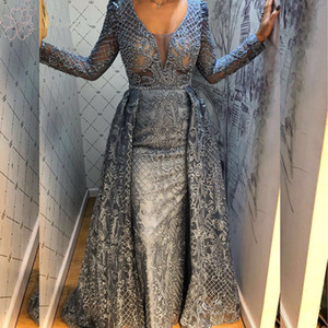 Luxury Dubai Arabic Full Lace Long Sleeves Mermaid Evening Dress 2020 V-neck Crystal Beaded Formal Party Prom Gowns With Over Skirt