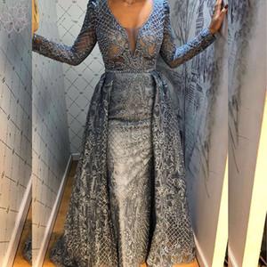 Luxe Dubaï arabe de dentelle à manches longues sirène robe de soirée 2020 V-cou cristal perlé partie formelle de bal Robes avec jupe Plus