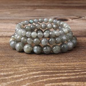 Lanli 4-12mm natural de la joyería de moda francesa piedras grises SPECTROLITE brazalete de perlas sean aptos para el glamour Rmen y mujeres amuleto