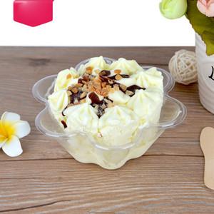 Disposable Plastic Ice Cream Bowls Flower Shape Clear PET Dessert Cup 320ML
