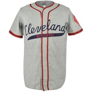 Cleveland Buckeyes 1946 Estrada Jersey 100% Bordado Costurado Logos Jérsei De Beisebol Do Vintage Personalizado Qualquer Nome Qualquer Número Frete Grátis