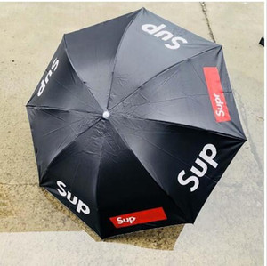 Nueva llegada paraguas plegable Estudiante Sup Masculino Y Femenino doble Paraguas Sunny pantalla lluvia Sun Uso Negro Rojo