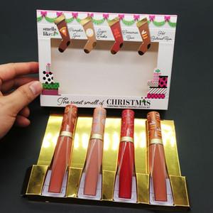메이크업 아름다움 크리스마스의 달콤한 냄새가 액화 립스틱 세트 립글로스 4 색 크리스마스 녹은 무광택 립스틱 무료 DHL
