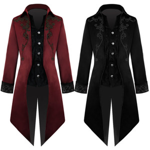 Anime Costumes Costumes Cosplay Apparel party Christmas China Court corduroy black red Tuxedo medieval Vintage medium length punk men's coat