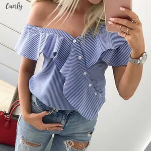 Womens Fashion One Shoulder Button Tops Casual Short Sleeve Ruffle Frilled Blouse Casual Lady Summer Stripe Shirts New Hot