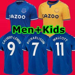 20 21 New Everton RICHARLISON maillots de football 2020 2021 chemises de football DIGNE CALVERT-LEWIN CALVERT LEWIN LOIN hommes enfants kits WALCOTT uniformes