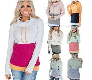 Remiendo de las mujeres camiseta de cuello alto collar sudaderas con capucha de costura de contraste color de la capa de manga larga otoño invierno Puente Tops S-3XL Nueva