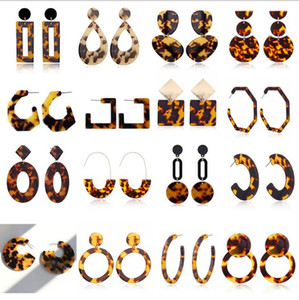 New Tortoise Color Leopard Print Acrylic Acetic Acid Sheet Geometric Circle Square Long Drop Earrings Hot Animal Ear Stud for Women GD346