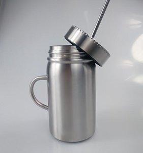 Frasco de pedreiro 17OZ com as canecas de aço inoxidável do pedreiro da parede dobro do punho com tampa latas de pedreiro isoladas vácuo da palha do tumbler do café 17oz com tampa