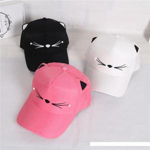 chapéus Orelhas Gato bonito Rosa Adulto Net Baseball Mulheres de Verão de Cap encantador dos desenhos animados ajustável menina malha Cap presente
