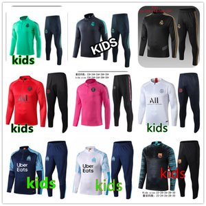 Paris Kids Soccer Tracksuit Kit Real Madrid Enfant 2020 2019 Frances Training Suit Marseille tracksuits om survetement child Football