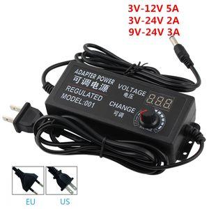Fonte de alimentação LED ajustável Transformer 3V 9V 12V 24V 1A 2A 5A Screen Display Power Supply adaptador AC 220V a DC 24 12 3V UE US