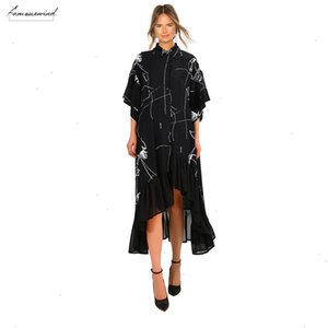 2020 Women Summer Plus Size Long Black Casual Shirt Dress Ruffle Irregular Stripes Print Ladies Party Club Dress Robe Femme 3751