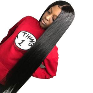 Recta del frente del cordón de 28 pulgadas de cabello humano barato pelucas de pelo brasileño de Remy peluca 13x6 para las mujeres negras