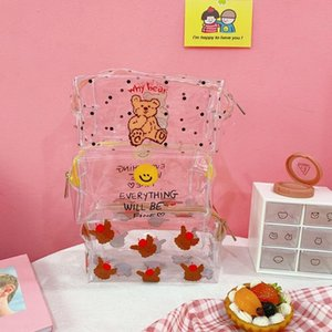 Bentoy Milkjoy Corea Japón Oso lindo de la sonrisa Waterprooft Transperant Neceser de maquillaje niñas caso de almacenamiento de bolsa para casos cosméticos