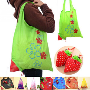 Nylon Cute Portable Shopping Strawberry Reusable Go Folding Tote Foldable Shopping Bags Bag Pouch Eco-Friendly Green Crrvc