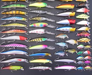 52pcs Mixed Fishing Lures Minnow Crankbaits Bass Baits Wobblers Set Lifelike Fishing Bait Tackle Drop