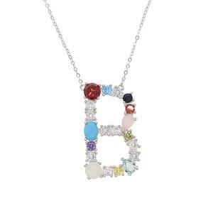 Prata inicial Multicolor CZ Colar Personalizado Carta Colar Nome charme womenJewelry Acessórios Namorada Presente