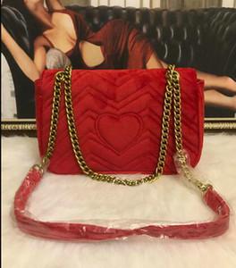 En 5A kalitesi Kadınlar Omuz Çantaları Klasik 26cm Kadife Çanta Kalp Stil Çanta Çanta Bez Çanta 0437 Messenger Çanta