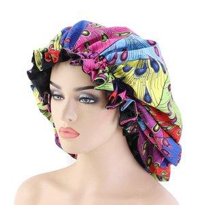 King Size Satin Bonnet African Pattern Ankara Drucken Nachtschlaf Silky Cap Laides Langes Haar Pflege Hut Weich Kopfbedeckungen 2020 Neu