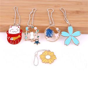 5pcs Enamel Flower Plutus cat Shell Bead chain Pendant for Shoelaces key bag Charm Alloy Pendants