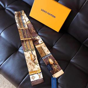 Nuevo diseñador Bolso de seda Bufanda larga chal para mujer Caliente de alta calidad Italia Marca Bufandas de seda bufandas pequeñas para bolso Bufanda D503