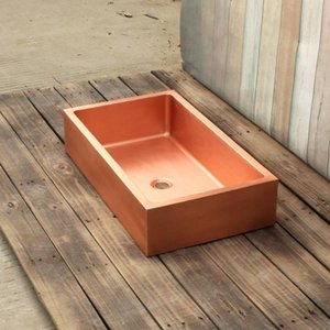 Rectanglar copper VanitySink smooth surface bathroom sink bar sink china sink